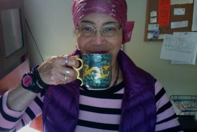 Skywalker drinks her mid-morning green tea (1)